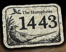 Address Plaque with Pheasant Wildlife Scene