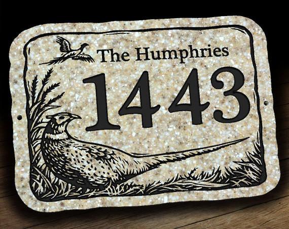 Address Plaque with Pheasant Wildlife Scene