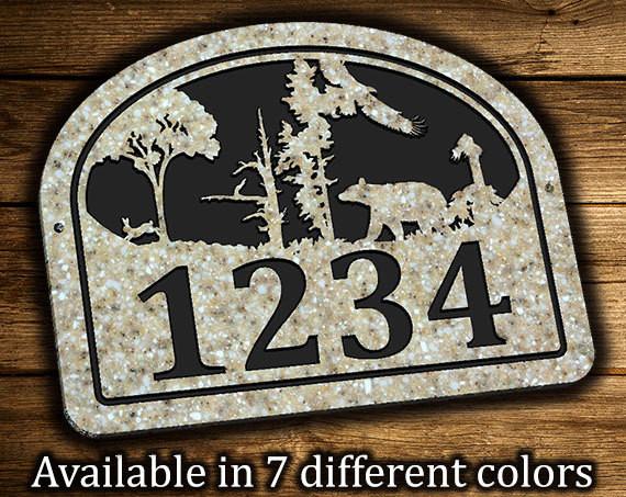 address plaque bear eagle rabbit outdoor scene. Black Bedroom Furniture Sets. Home Design Ideas