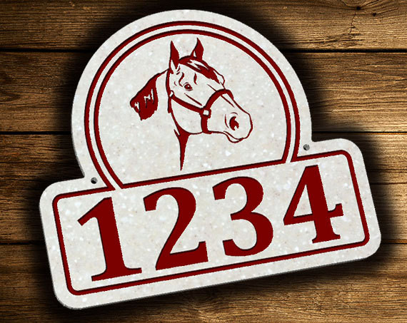 Horse Head Address Plaque