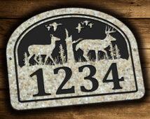 Buck Doe Deer Address Plaque