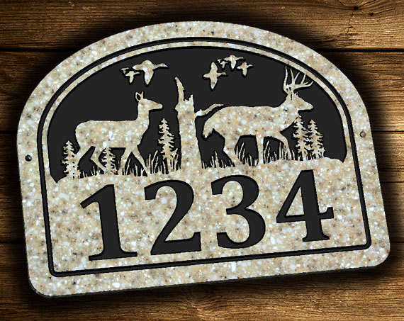 Buck Doe Deer Address Plaque