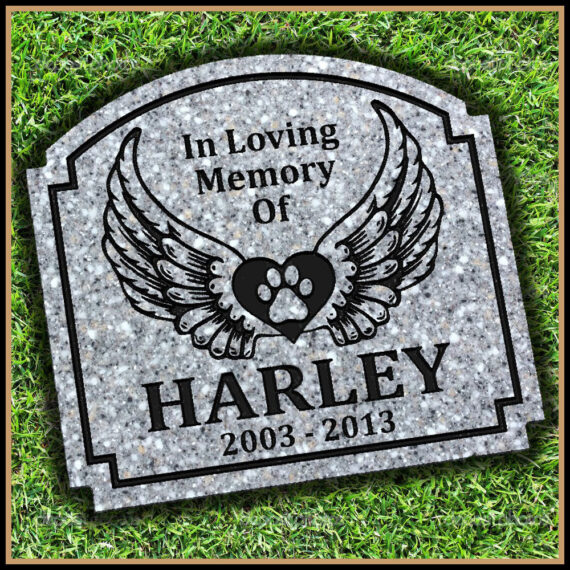 Pet Grave Marker - Angel Wings & Paw Print