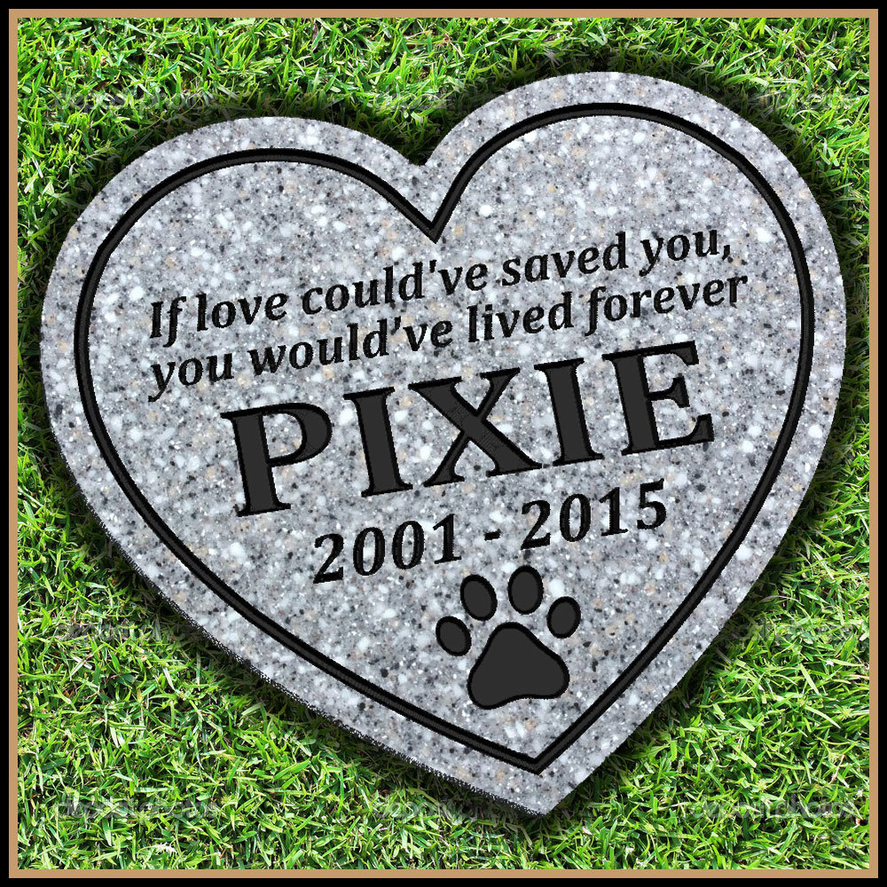 Pet Memorial Grave Marker Heart Shaped With Paw Print